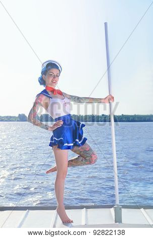 girl on the ship in retro style