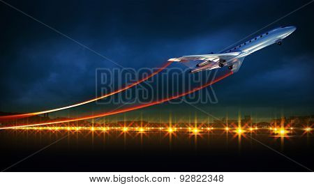 Aircraft At Take Off On Night Airport