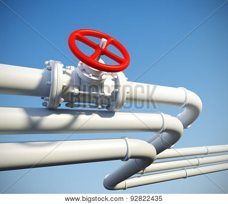 Industrial Pipeline With Gas Or Oil