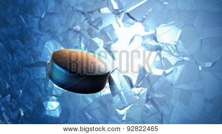 Hockey Puck Burst Through Ice
