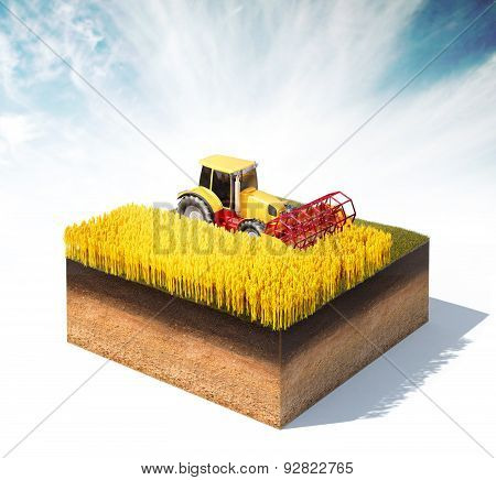 Tractor Harvester Harvesting Wheat