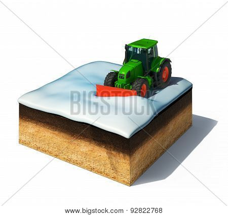 cross section of ground with snowplow tractor removing the snow isolated on white