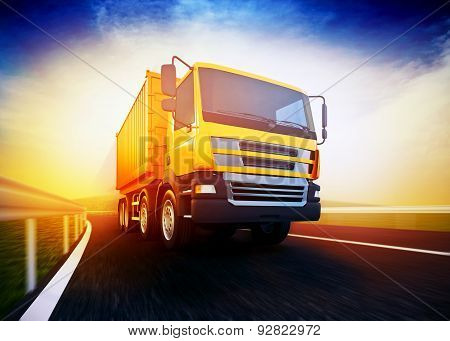 Orange Semi-truck On Blurry Asphalt Road Under Blue Sky And Sunset Light