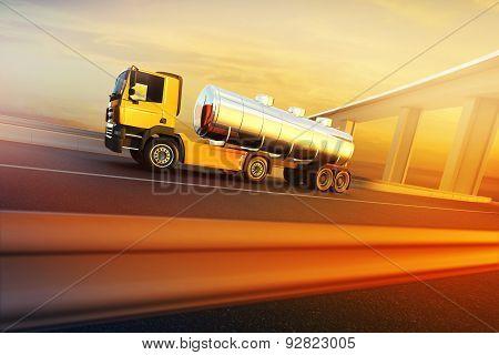 Truck On Asphalt Road Highway