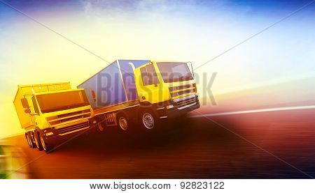 Two Orange Semi-trucks With Cargo Containers