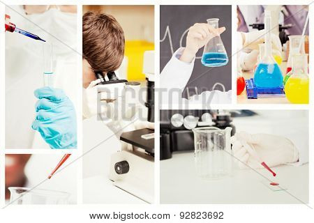 Portrait of a protected scientist dropping a liquid in a test tube against scientist looking in a microscope