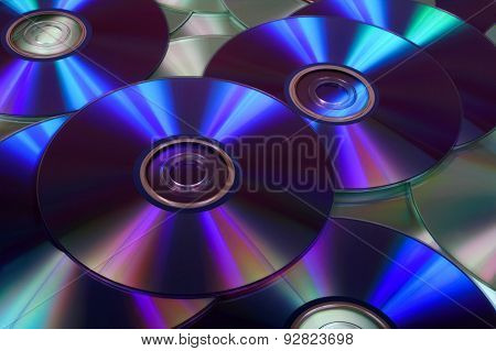 Closeup Image Of Dvds And Cds