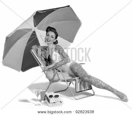 woman in the beach chair retro