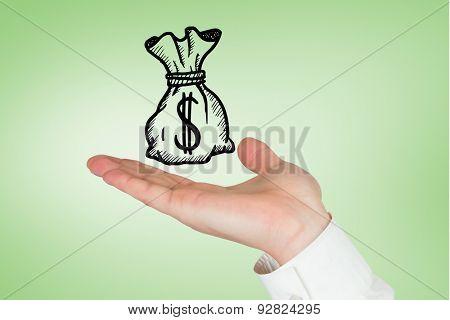 Hand presenting against green vignette