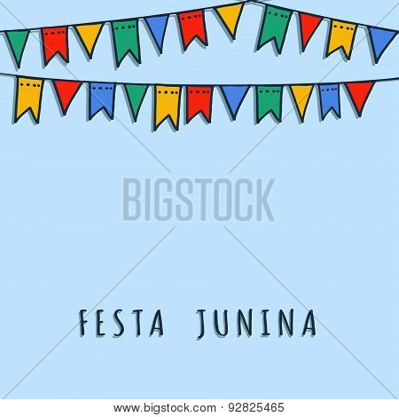 Brazilian June Party, Vector Background With Flags Garland