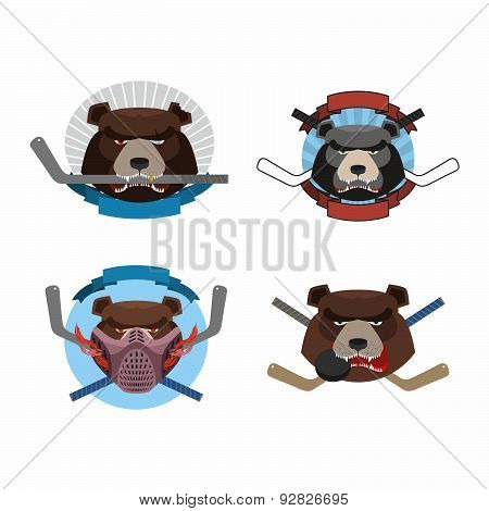 Hockey logo bear set. Muzzle animals with sticks for ice hockey team. Fierce and angry animals. Vect