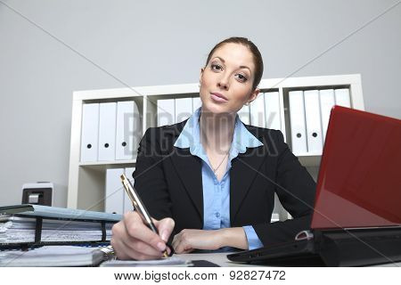 Businesswoman Makes A Note