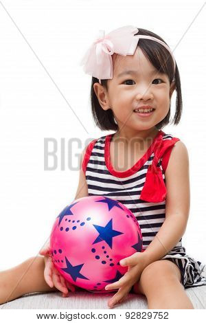 Asian Chinese Girl Holding Ball