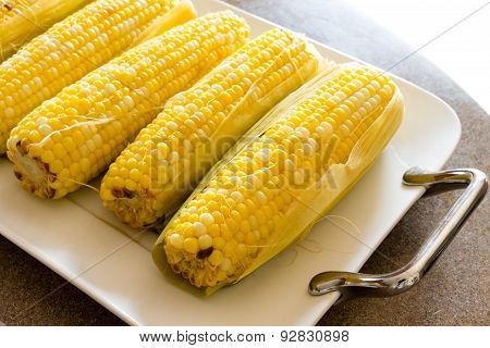 Tasty Boiled Fresh Corncobs For A Healthy Snack
