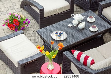 4Th July Tea Served On An Outdoor Patio