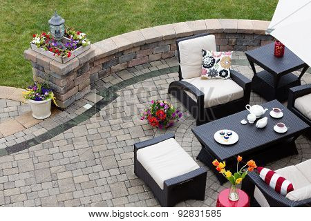 Brick Paved Patio With Patio Furniture
