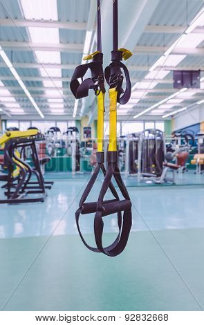 Fitness straps ready to use in fitness center