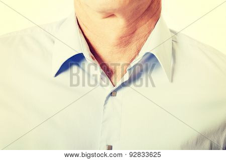 Closeup on male shirt with collar.