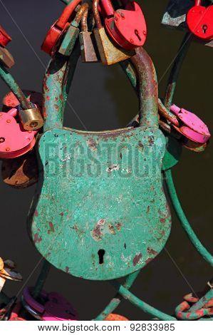 Big Grunge Green Heart Lock Romance Love Taken Closeup.