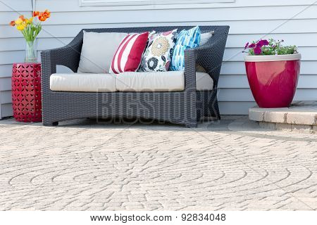 Comfortable Modern Settee On An Outdoor Patio