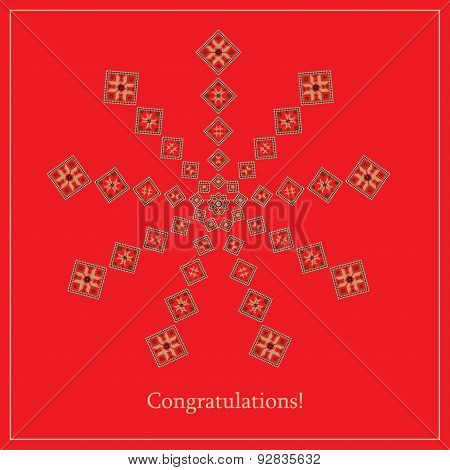 Greeting Card With Ethnic Ornament Pattern In Different Colors