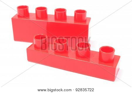 Red Building Blocks On White Background
