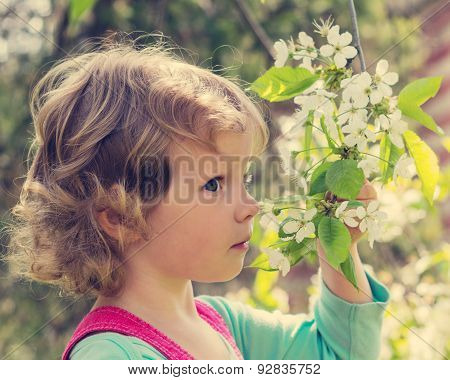 Beautiful Little Girl Sniffs The Branch Of A Flowering Tree.