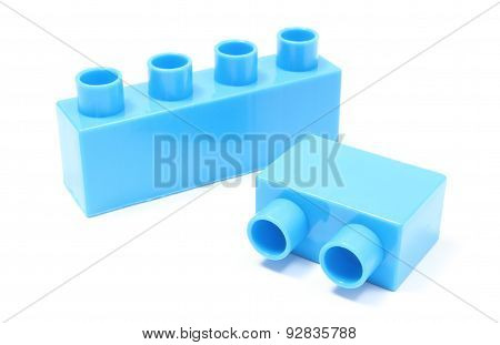 Blue Building Blocks On White Background