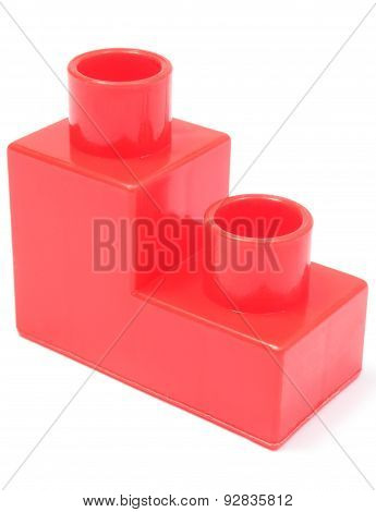 Red Building Block On White Background