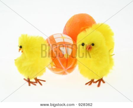 Toy Chickens With Decorated Eggs