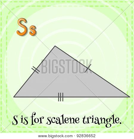 Flashcard of a letter S with a picture of scalene triangle
