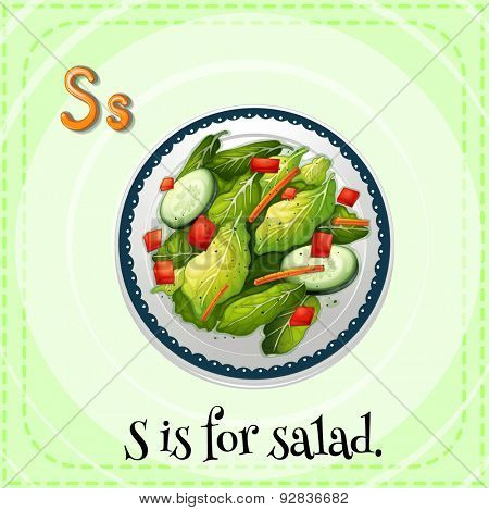 Flashcard of a letter S with a picture of salad