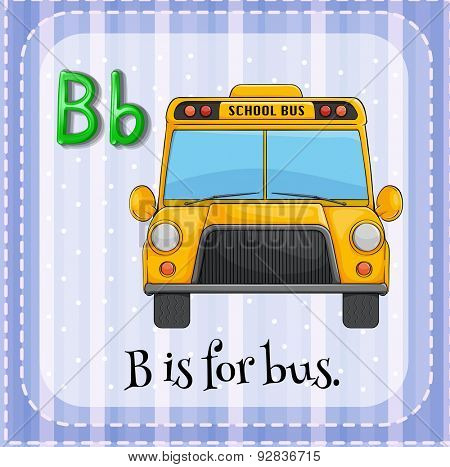Letter B flashcard with picture of a school bus