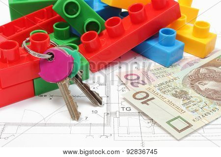 Home Keys, Colorful Building Blocks And Money On Housing Plan
