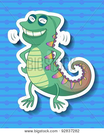 Sticker of a colorful cameleon smiling