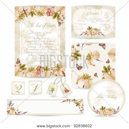Set Of Templates For Celebration, Wedding.