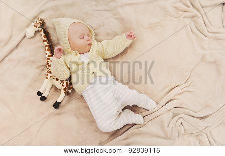 Little Cute Newborn Baby Boy Sleeping With Giraffe Toy