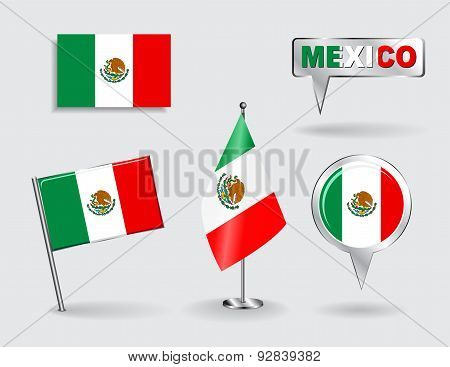 Set of Mexican pin, icon and map pointer flags. Vector