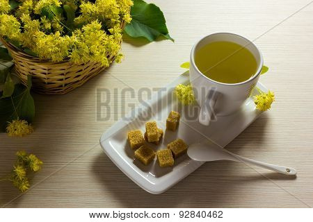 Linden Tea Cup And Woven Basket With Linden Flowers - Tea Time