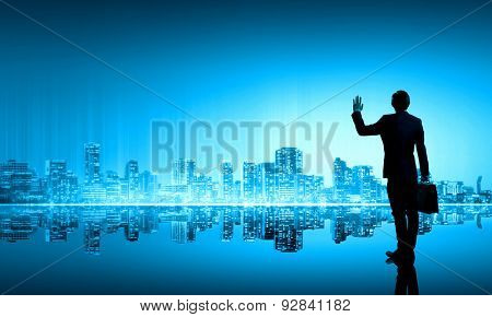 Rear view of businessman looking at city panorama