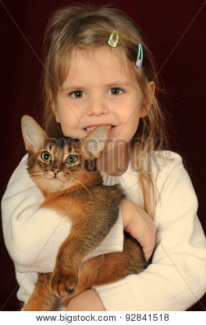 Pretty Pair Of Kitten And Child Girl