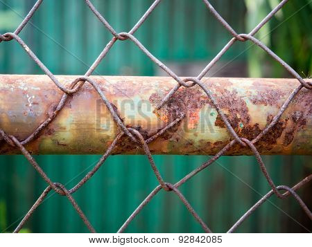 Rusty steel mesh Situated on the old steel.