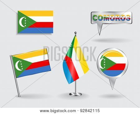 Set of Comoros pin, icon and map pointer flags. Vector