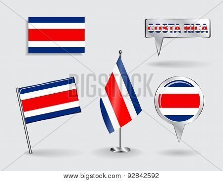 Set of Costa Rican pin, icon and map pointer flags. Vector