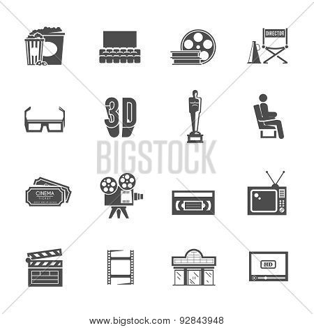 Cinema retro black icons set