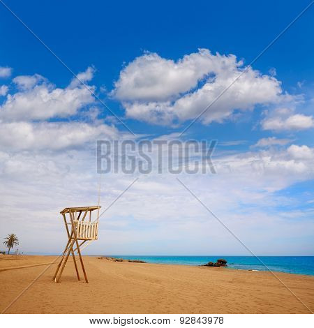 Almeria Mojacar beach lifeguard in Mediterranean sea of Spain