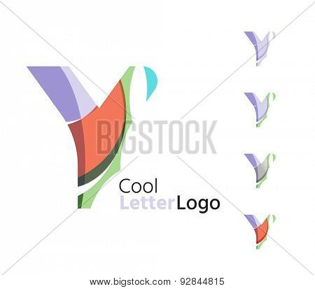 Set of abstract Y letter company logos. Business icons made of overlapping flowing waves. Light color modern minimal design