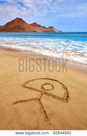 Almeria Indalo sign in sand Playa de los Genoveses beach Cabo de Gata