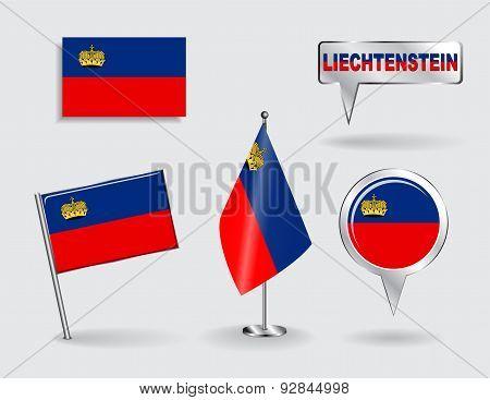 Set of Liechtenstein pin, icon and map pointer flags. Vector