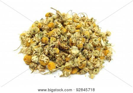 Heap Of Dried Chamomile On White Background